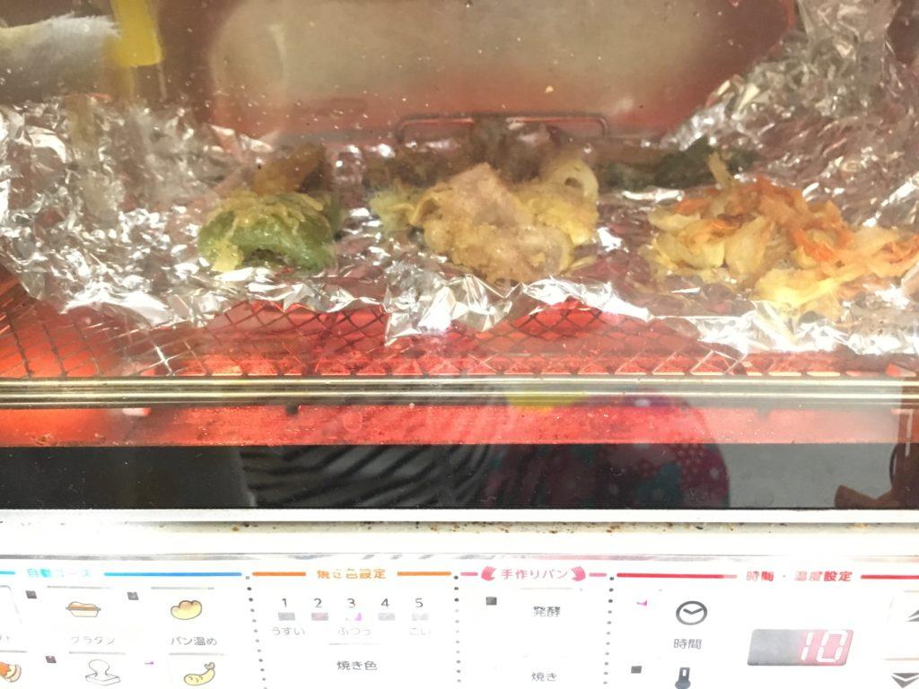 保存しておいた天ぷらをオーブントースターで焼く